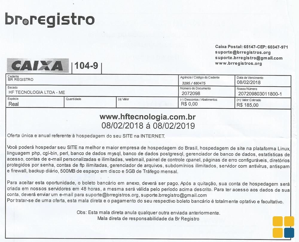 Boleto fraudulento do br.registro