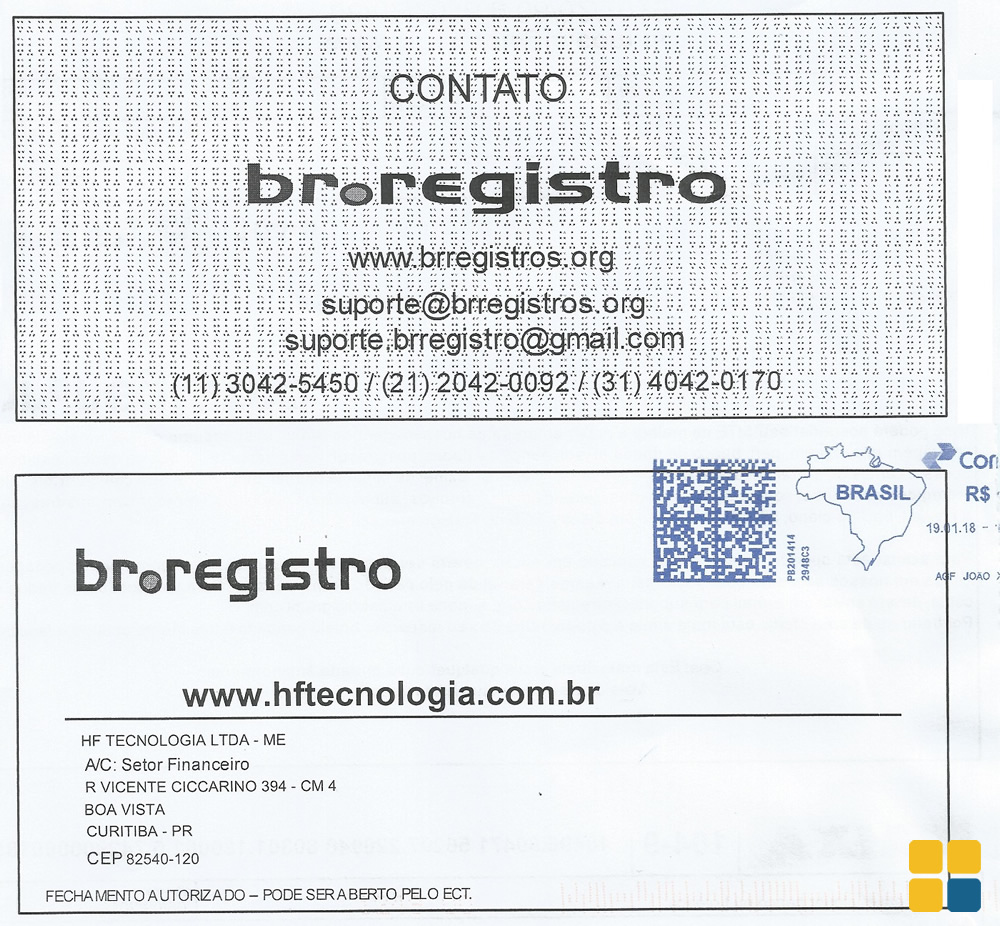 Carta fraudulenta do br.registro
