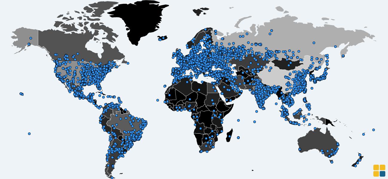 Mapa de infecções WannaCry