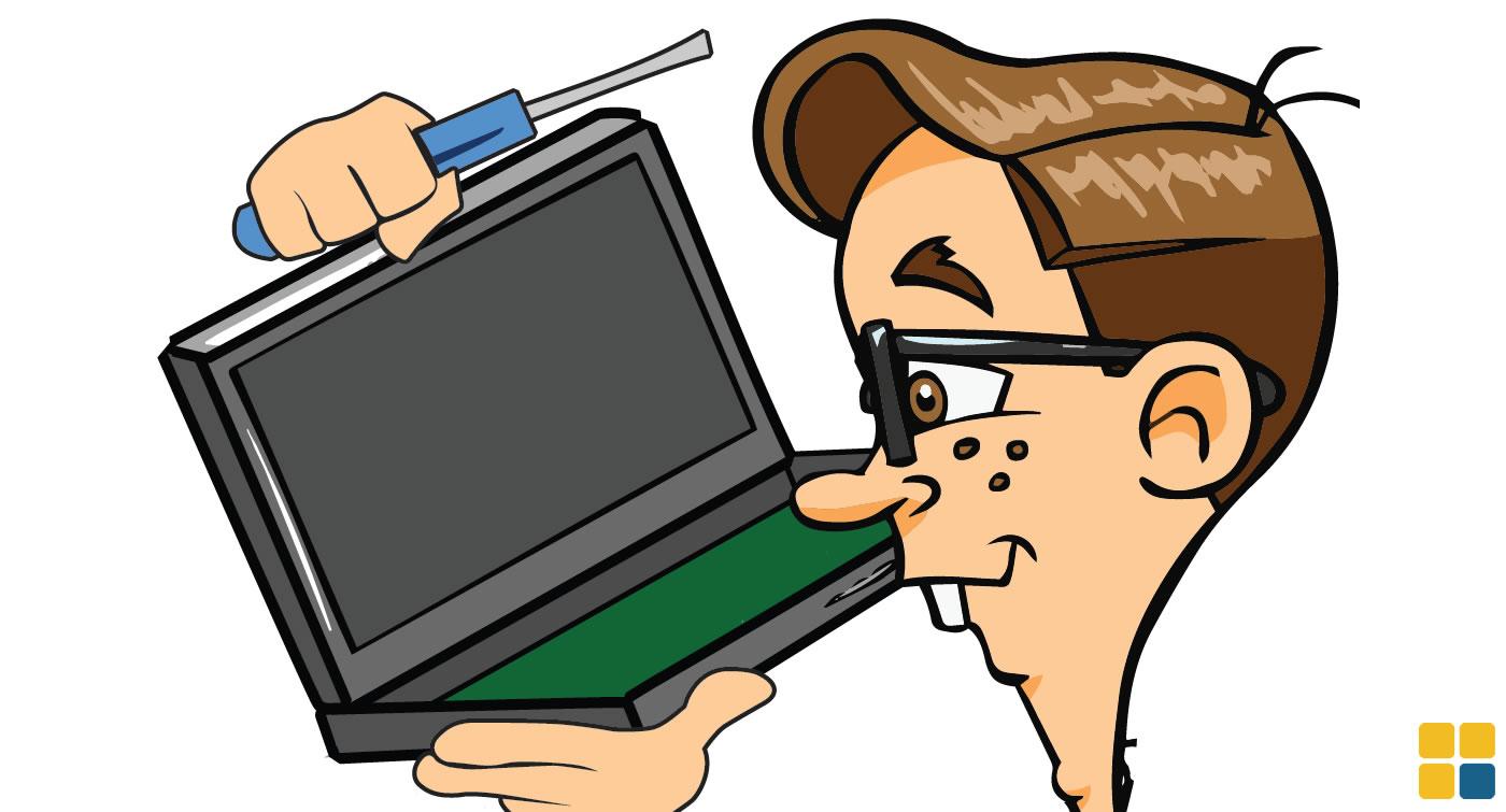 Nerd reparando laptop