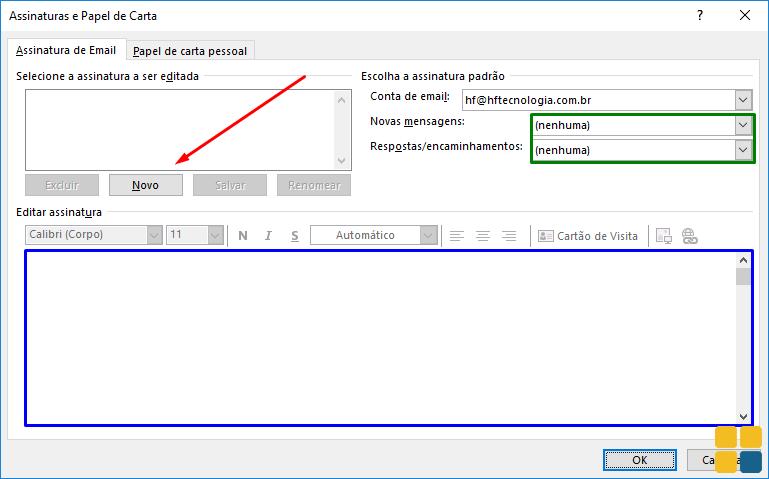 Tela para configurar assinatura no Outlook