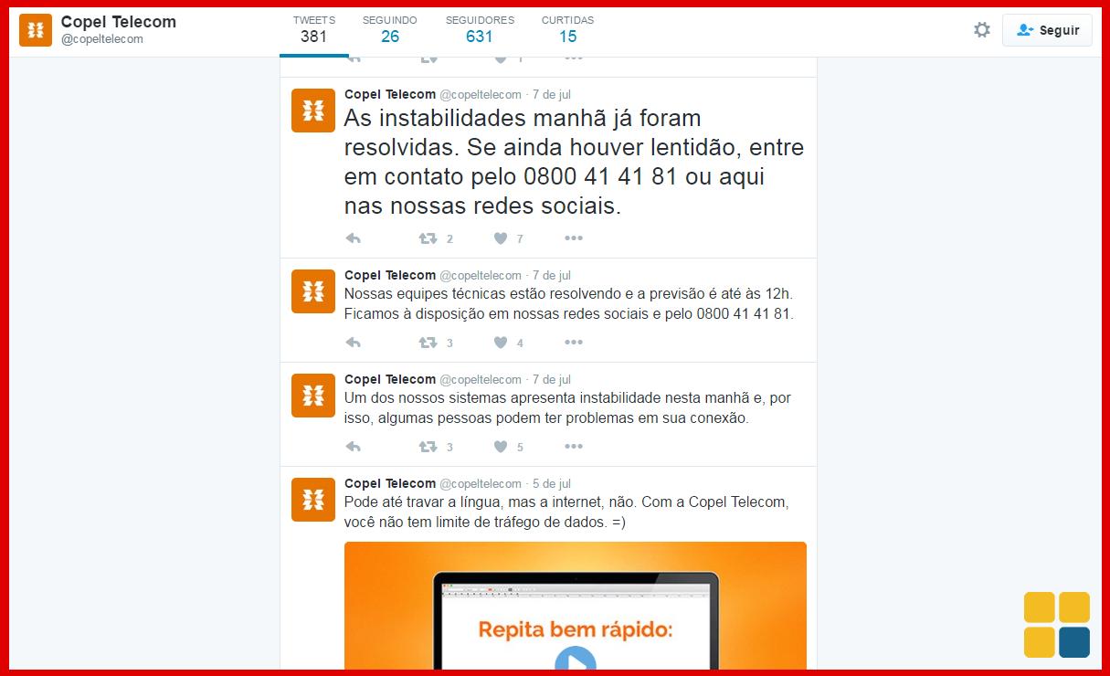 Copel confirma via Twitter o problema na internet