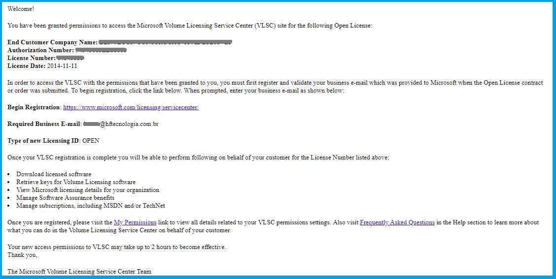 E-mail de confirmação de licença Microsoft Open